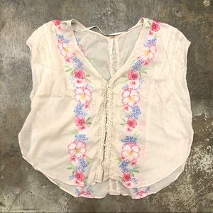 Free People Floral Top Boho Hippie Cream M